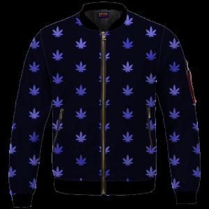 Marijuana Cool And Awesome Pattern Navy Blue Bomber Jacket