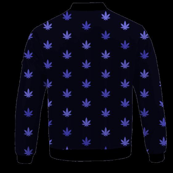 Marijuana Cool And Awesome Pattern Navy Blue Bomber Jacket - BACK