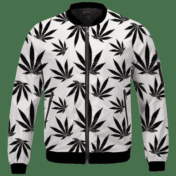 Marijuana Cool White Black Pattern Awesome Bomber Jacket