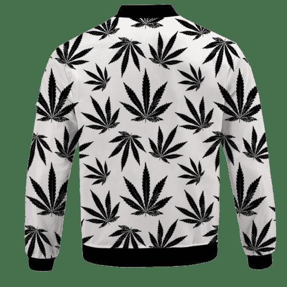 Marijuana Cool White Black Pattern Awesome Bomber Jacket - BACK