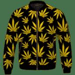 Marijuana Cool Yellow Black Pattern Awesome Bomber Jacket