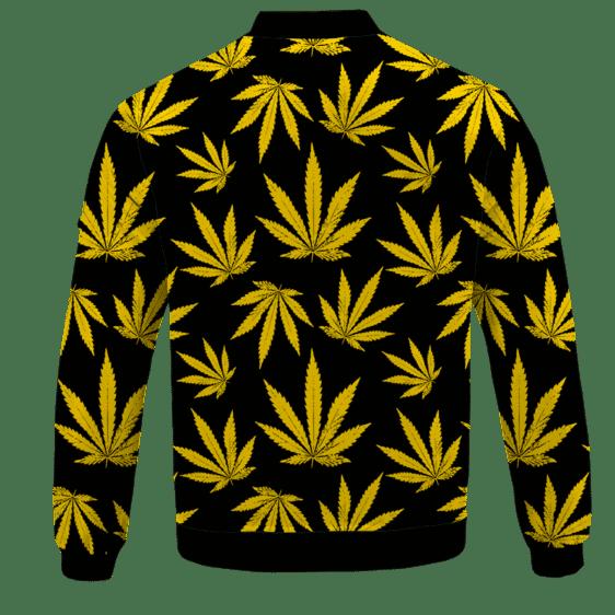 Marijuana Cool Yellow Black Pattern Awesome Bomber Jacket - BACK