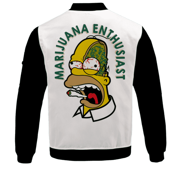 Marijuana Enthusiast Stoned Homer Simpson Awesome Bomber Jacket - BACK