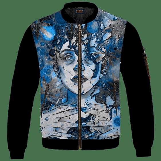 Marijuana Goddess Hemp 420 Weed Blue Bomber Jacket