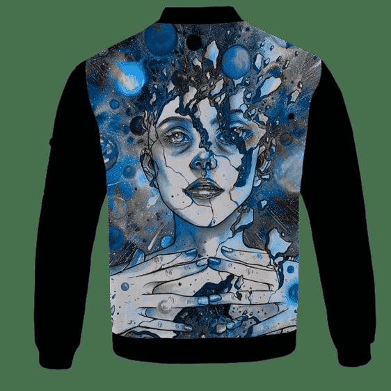 Marijuana Goddess Hemp 420 Weed Blue Bomber Jacket - BACK