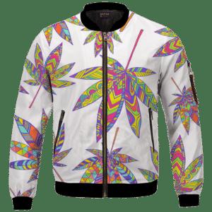Marijuana Leaf Rainbow Colors All Over Print White Awesome Bomber Jacket