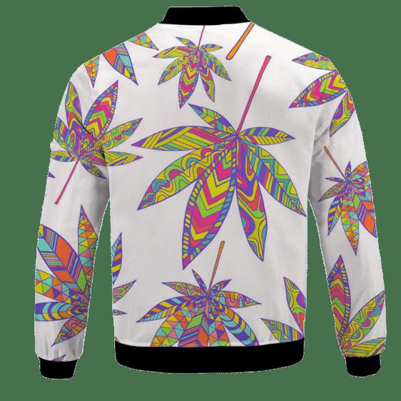 Marijuana Leaf Rainbow Colors All Over Print White Awesome Bomber Jacket -BACK