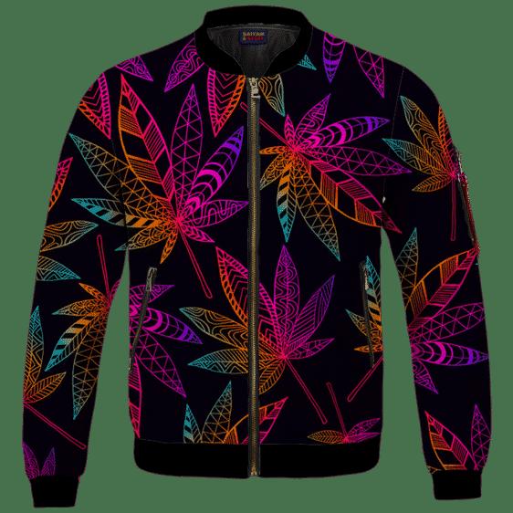 Marijuana Leaf Trippy Colors All Over Print Cool Bomber Jacket