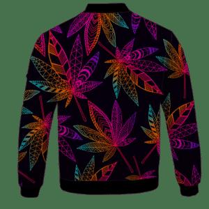Marijuana Leaf Trippy Colors All Over Print Cool Bomber Jacket - back