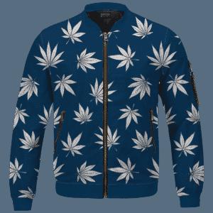 Marijuana Leaves Cool All Over Print Dark Navy Blue Bomber Jacket