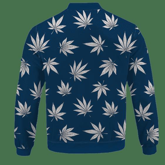 Marijuana Leaves Cool All Over Print Dark Navy Blue Bomber Jacket - BACK