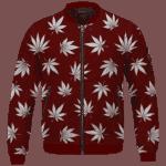 Marijuana Leaves Cool All Over Print Dark Red Bomber Jacket