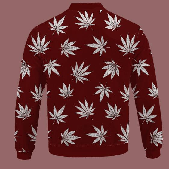 Marijuana Leaves Cool All Over Print Dark Red Bomber Jacket - BACK