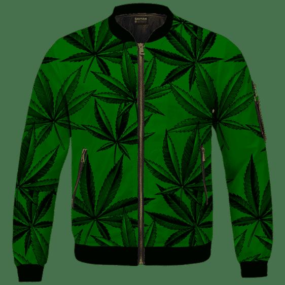 Marijuana Leaves Dope Dark Green Minimalist Bomber Jacket