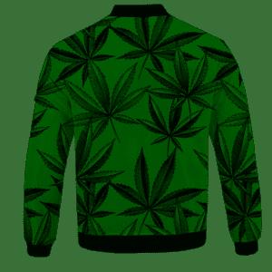 Marijuana Leaves Dope Dark Green Minimalist Bomber Jacket - BACK