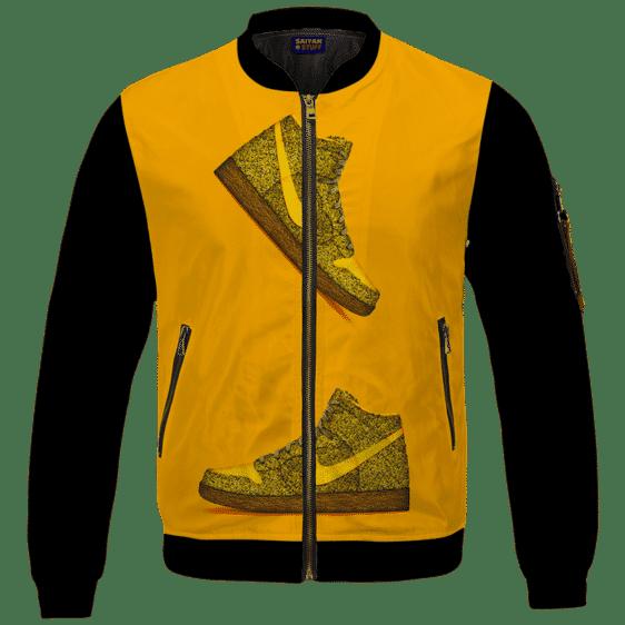 Marijuana Nike Inspired Air Jordan Sneaker Head Orange Bomber Jacket