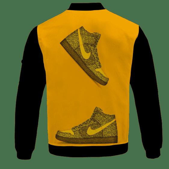 Marijuana Nike Inspired Air Jordan Sneaker Head Orange Bomber Jacket - back