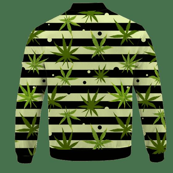 Marijuana Weed 420 Stripes All Over Bomber Jacket - BACK