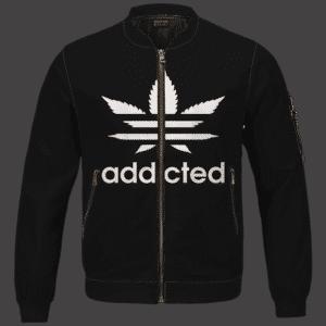 Marijuana Weed Adidas Addicted Logo Black Bomber Jacket