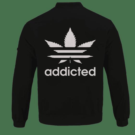 Marijuana Weed Adidas Addicted Logo Black Bomber Jacket - back