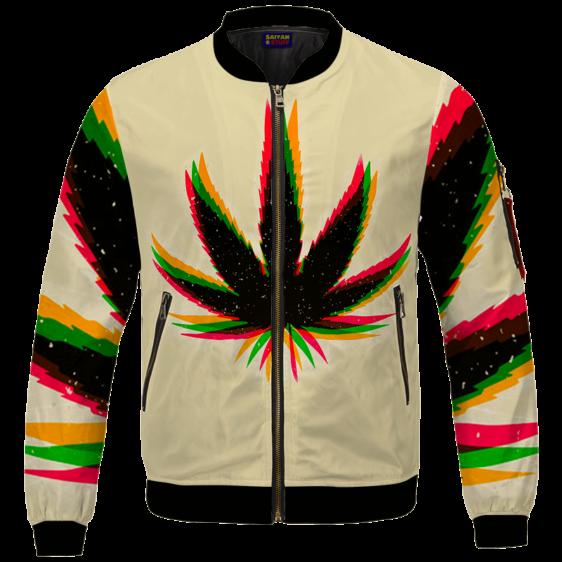 Marijuana Weed Trippy Colors Cool Awesome Bomber Jacket