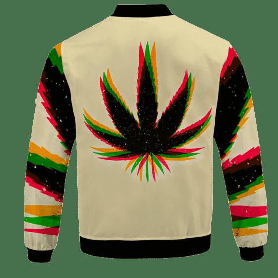 Marijuana Weed Trippy Colors Cool Awesome Bomber Jacket - back