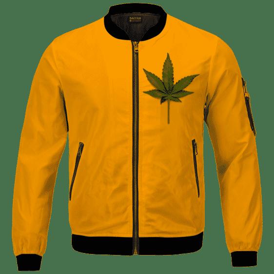 Minimalist Real Marijuana Leaf Awesome 420 Bomber Jacket