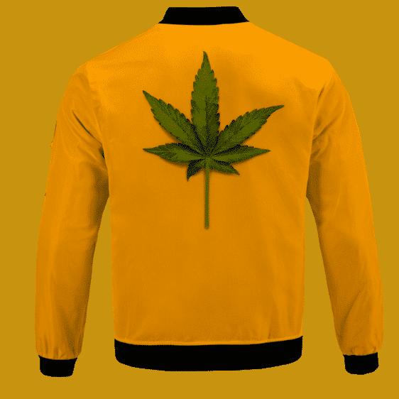 Minimalist Real Marijuana Leaf Awesome 420 Bomber Jacket - BACK