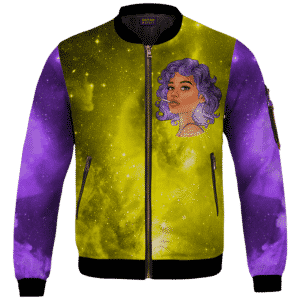Portrait Smoking Marijuana Joint Purple Gold Galaxy Bomber Jacket