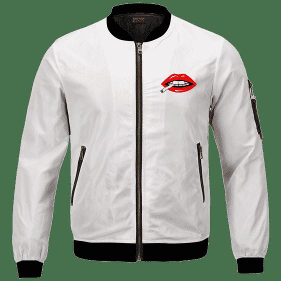 Red Lips Rolling Smoking a Marijuana Joint 420 Bomber Jacket