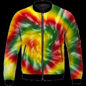 Reggae Inspired Tie Dye For The Stoners Dope Bomber Jacket