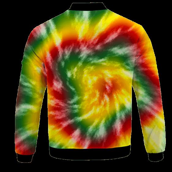 Reggae Inspired Tie Dye For The Stoners Dope Bomber Jacket - BACK