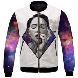 Sexy Women Smoking Blunt In Galaxy Amazing 420 Bomber Jacket