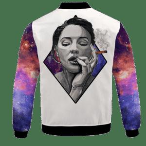 Sexy Women Smoking Blunt In Galaxy Amazing 420 Bomber Jacket - BACK