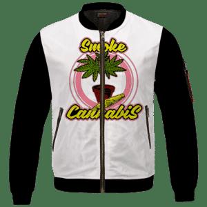 Smoke Cannabis Marijuana Plant Pot & Joint Weed Bomber Jacket