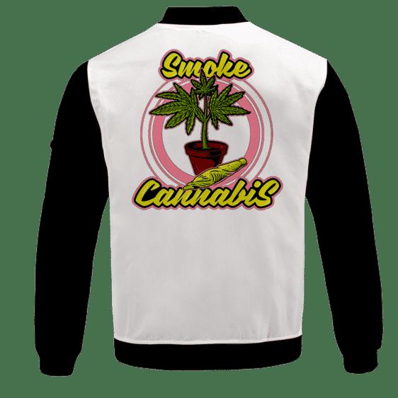 Smoke Cannabis Marijuana Plant Pot & Joint Weed Bomber Jacket - back