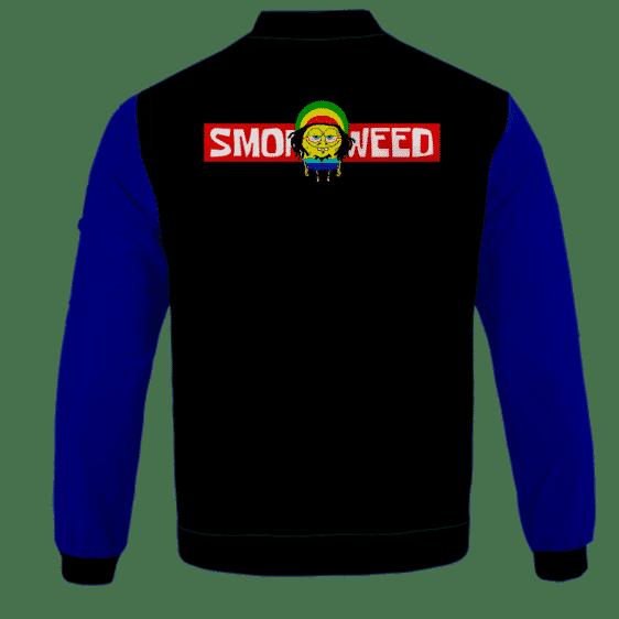 Smoke Weed Reggae Stoner Sponge Bob Marijuana Bomber Jacket - BACK