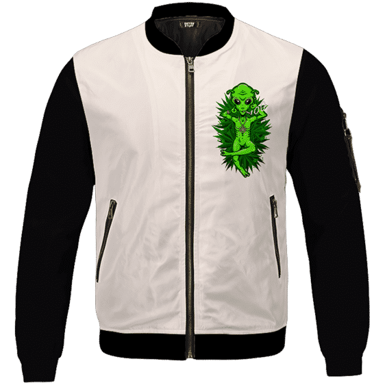 Smoking Marijuana Dope Alien Cool Art Bomber Jacket