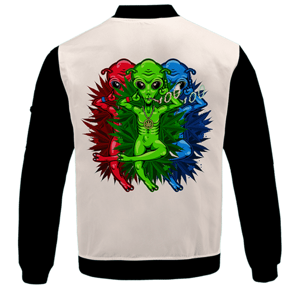 Smoking Marijuana Dope Alien Cool Art Bomber Jacket -BACK
