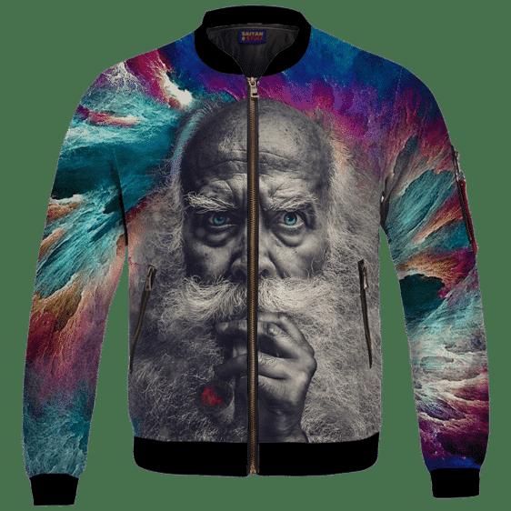 Smoking Marijuana Old Man Mystical Illuminati Bomber Jacket