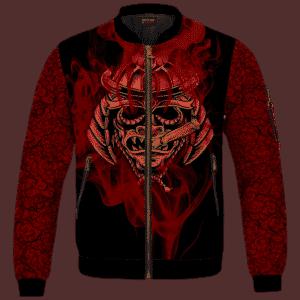 Smoking Samurai Dark Red Japanese Theme Bomber Jacket