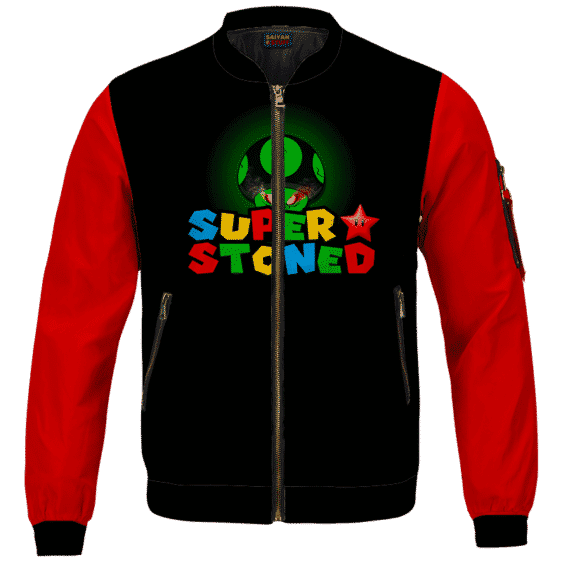 Super Stoned Mushroom Weed Marijuana Mario Cool Bomber Jacket