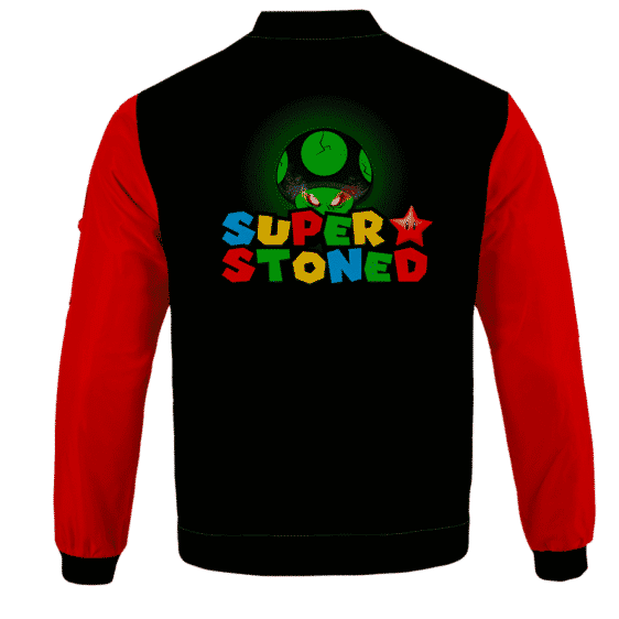 Super Stoned Mushroom Weed Marijuana Mario Cool Bomber Jacket - BACK