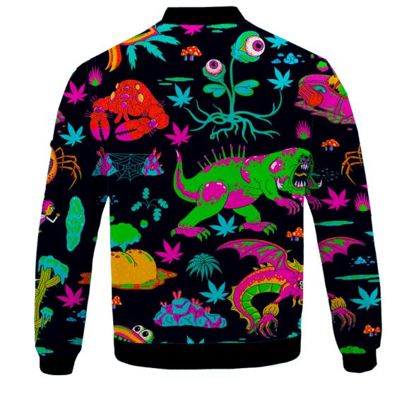 The Adventures of Rick and Morty Monsters Trippy Marijuana Bomber Jacket