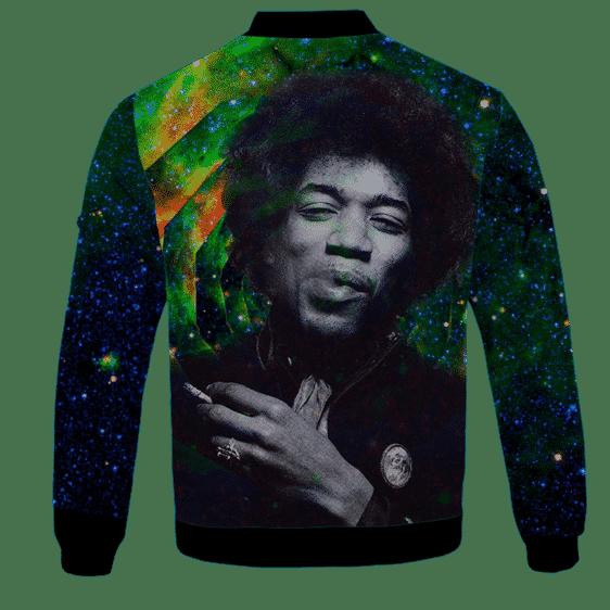 Trippy Galaxy Jimi Hendrix Smoking Joint 420 Bomber Jacket Back