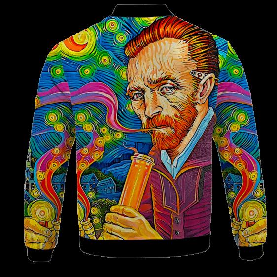Van Gogh Starry Night Smoking Bong Trippy Bomber Jacket - BACK