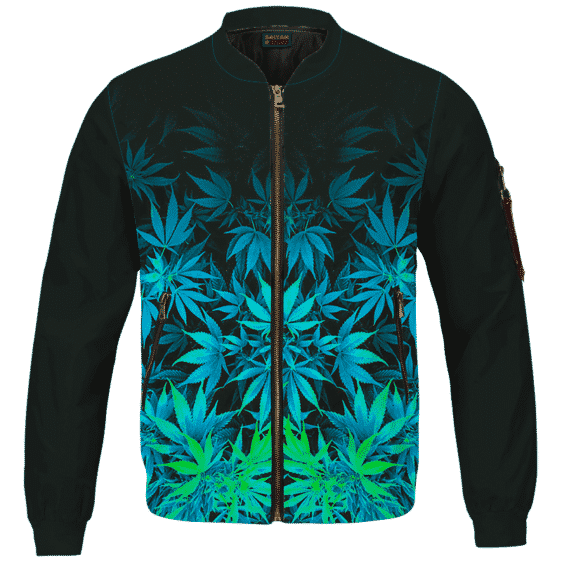 Vibrant Green Fading Marijuana Hemp 420 Kush Bomber Jacket