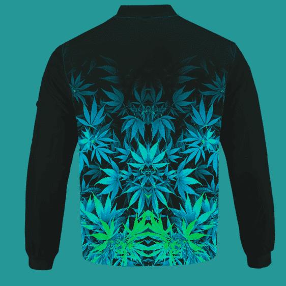 Vibrant Green Fading Marijuana Hemp 420 Kush Bomber Jacket Back