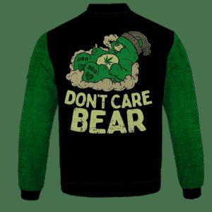We Don't Care Bear Parody High on Marijuana 420 Bomber Jacket - back