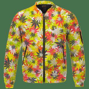 Weed Hemp Marijuana Pattern Colorful All Over Print Bomber Jacket
